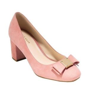 Cole Haan Tali Bow Pumps in Pink Almond Suede NEW